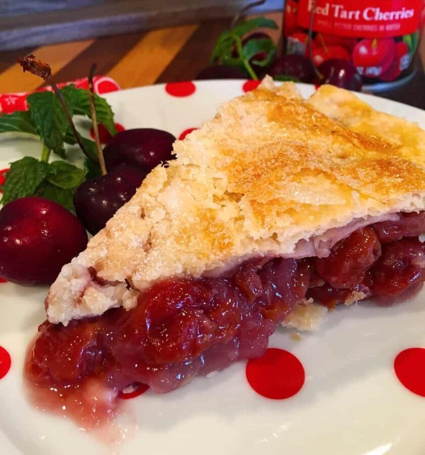 Slice of Traditional Homemade Cherry Pie