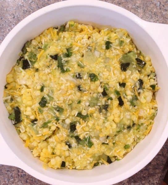 Squash and Corn mixture poured into prepared 2 qt baking dish