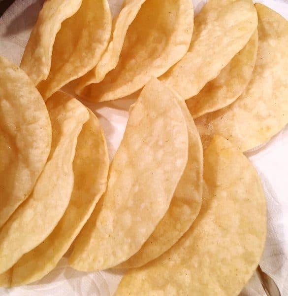Plate of fried Taco Shells