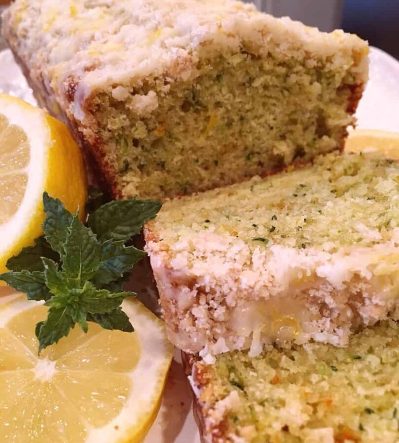 Sliced Lemon Zucchini Bread with Crumb Topping