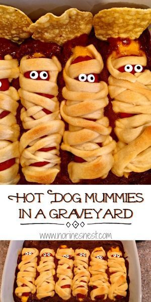Hot Dog Mummies on a bed of chili