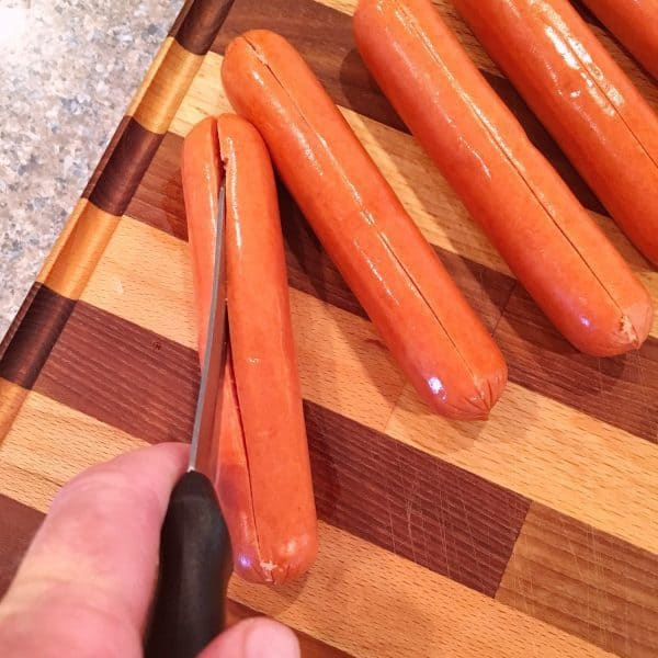 Hot Dogs slit down the center