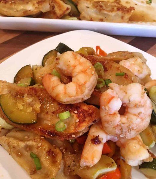 Serving of Potsticker and Shrimp Dish