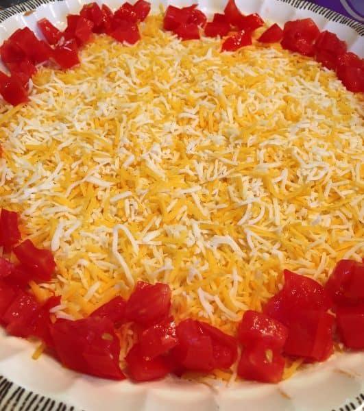 Chopped Tomatoes around edge of dip