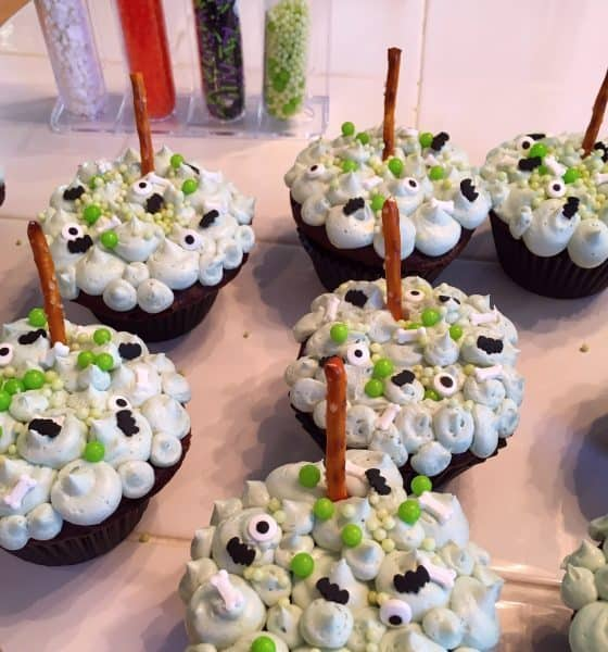 Halloween Witches Brew Cupcakes decorated