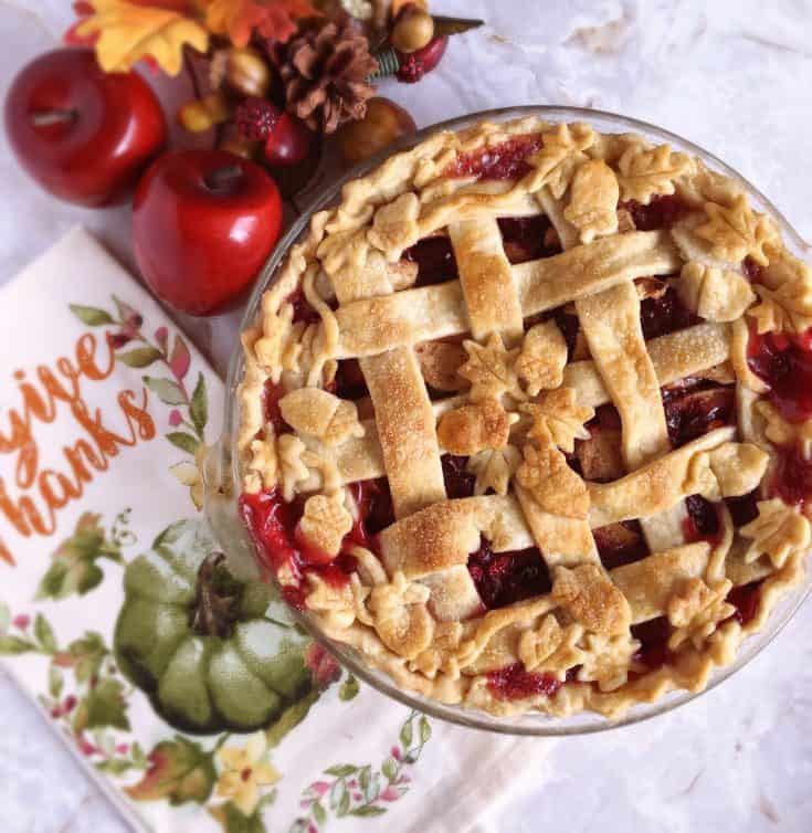 A delicious traditional apple pie with added cranberries makes for a spectacular Holiday Dessert!