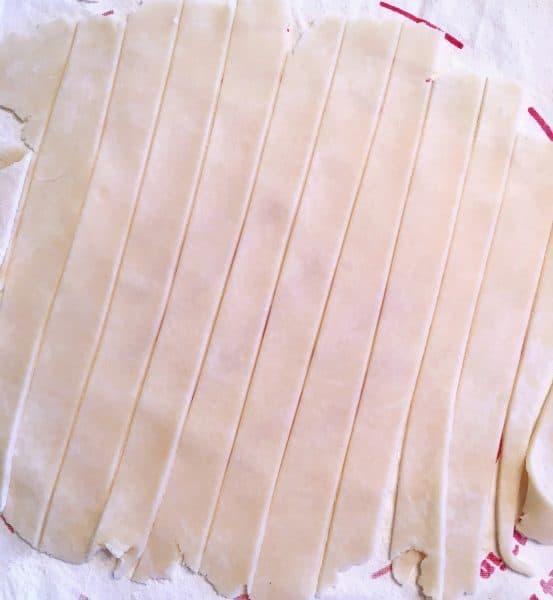 Top pie crust strips for lattice crust