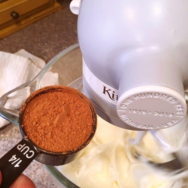 Adding Cocoa to Cheesecake Dip