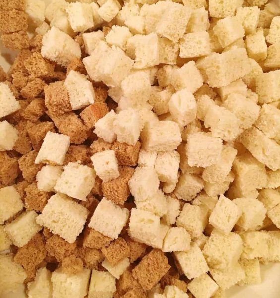 bread cubes in a bowl