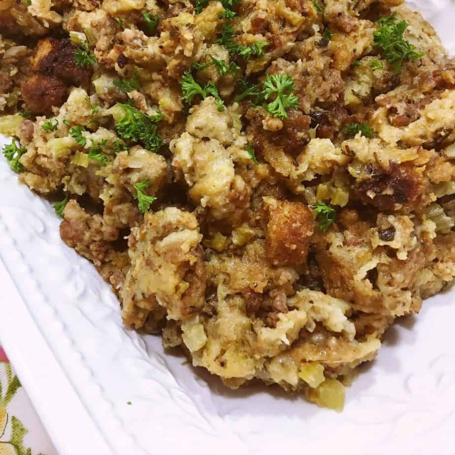 Sausage and Herb Stuffing in a serving bowl.
