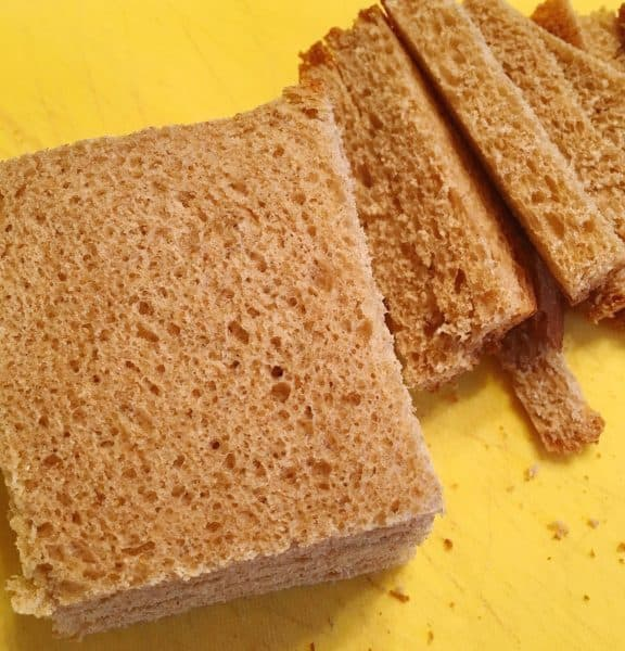 Bread with crusts cut off