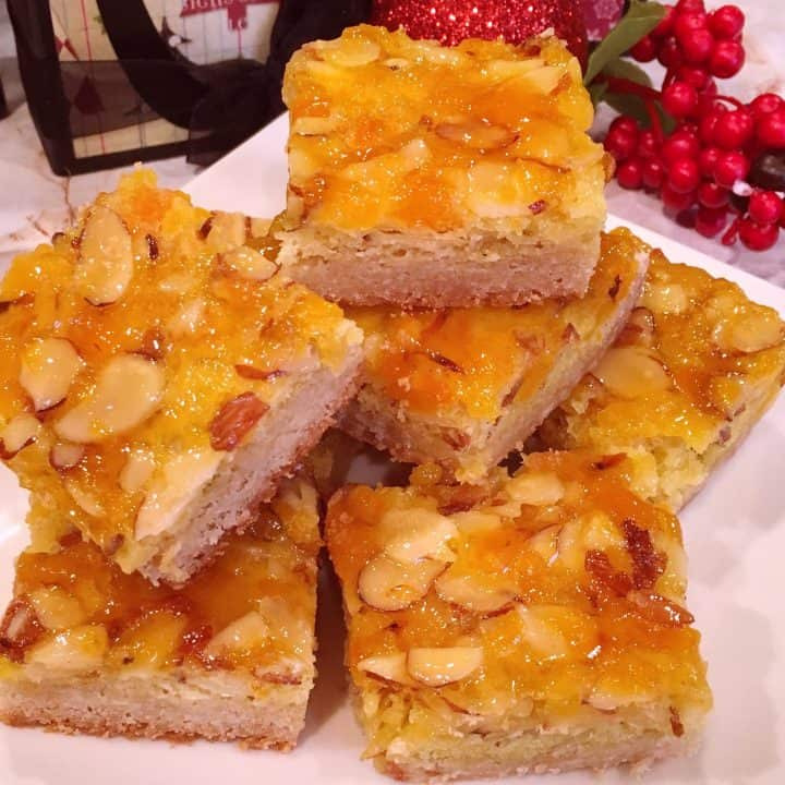 Apricot Bars on a Plate