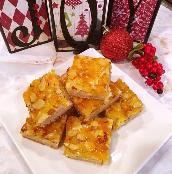 Plate full of apricot bars
