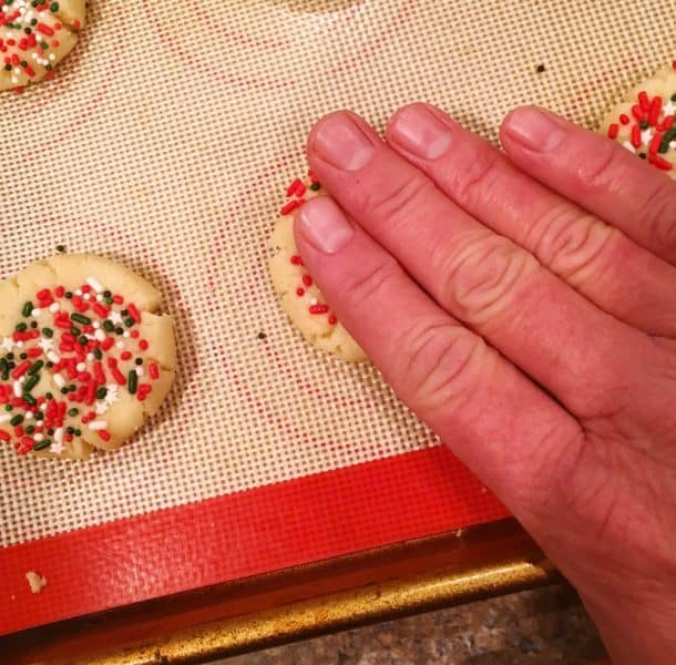 Use hands to press down cookie dough