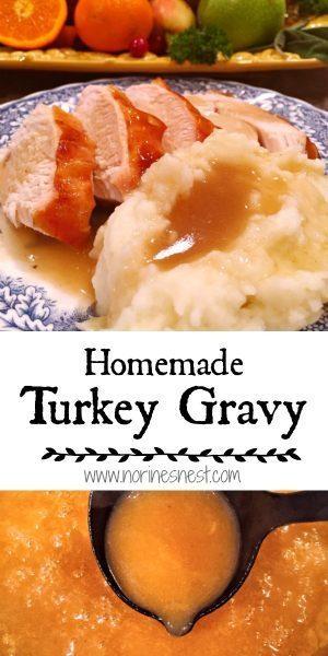 Pinterest Pin of Homemade Turkey Gravy