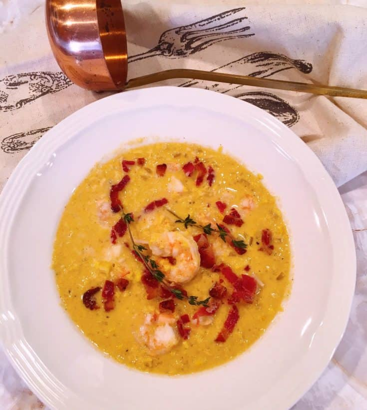 Savory Creamy Corn based chowder with bacon and tender shrimp. Loaded with flavor and so quick and easy to make.