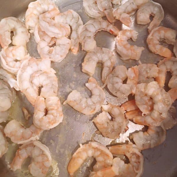 Cooking shrimp in large pot