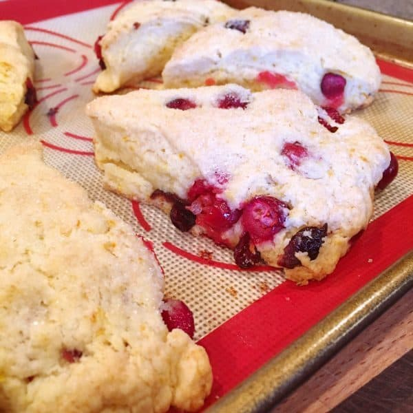Cranberry Orange Scone coming out of oven