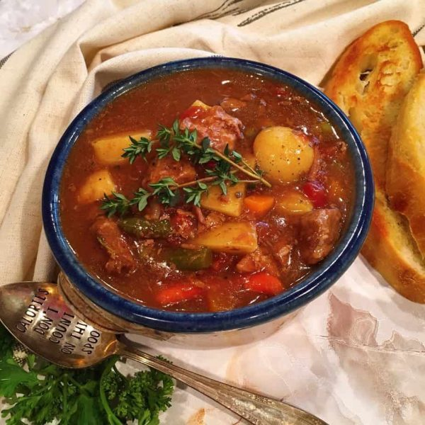 Bowl of slow cooked traditional beef stew