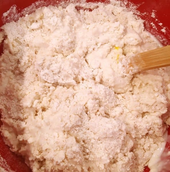 Mixing wet and dry ingredients for biscuits