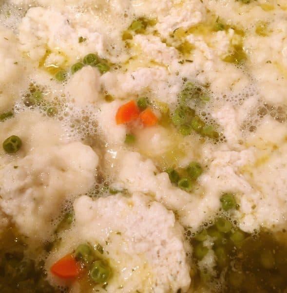 Dropping dumplings into stew