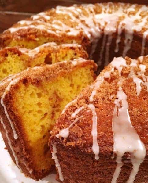 Moist Cinnamon Coffee Cake with a swirl of cinnamon and crumb topping made easy by using a box mix.