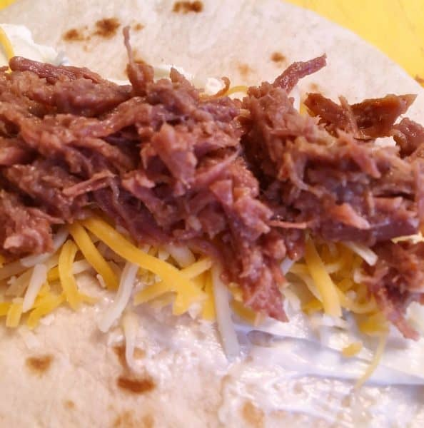 Seasoned beef on the tortillas