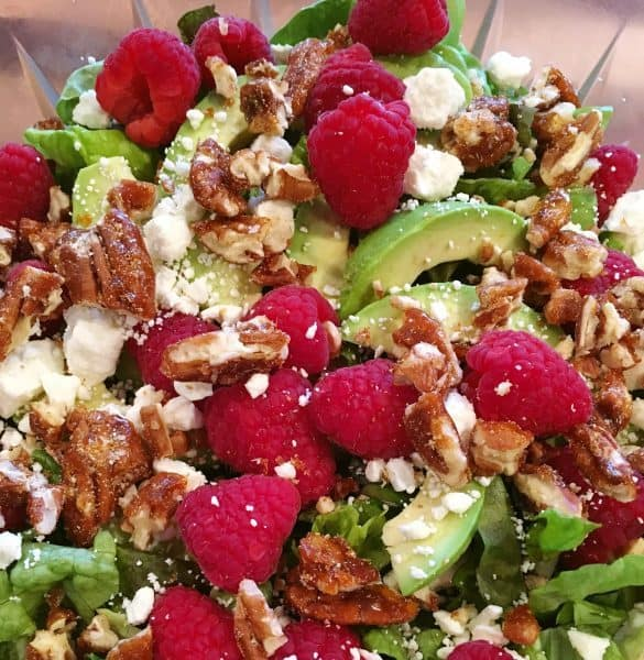 Big Bowl Of Raspberry Pecan Feta Cheese salad.