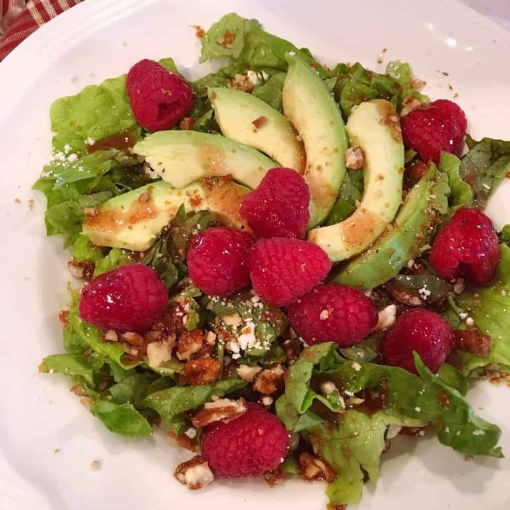 Raspberry Pecan Feta Salad with Raspberry Vinaigrette