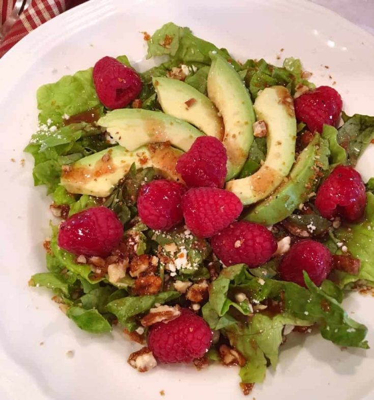 Spring Mix topped with crumbled feta cheese, candied pecans, fresh sliced avocados, red raspberries and a homemade raspberry vinaigrette.