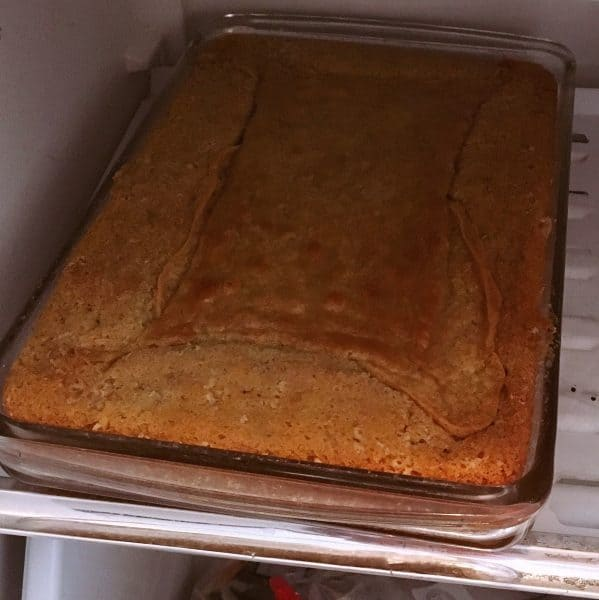 Cake cooking in freezer