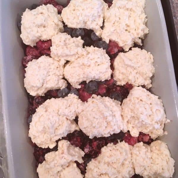 Dropping Cobbler dough on top of filling