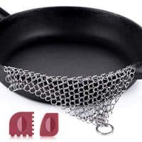 """Amagabeli Stainless Steel Cast Iron Cleaner 8""""x6"""" 316L Chainmail Scrubber Pan Scraper Cookware Accessories Pan Dutch Ovens Plastic Skillet Scraper Pot Grill Brush Seasoning Cleaning Tools XL Cleaner"""