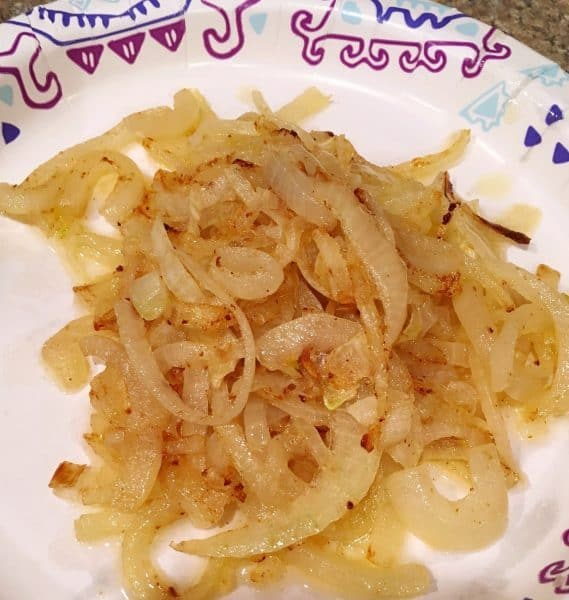 Sauteed Onions on paper palte