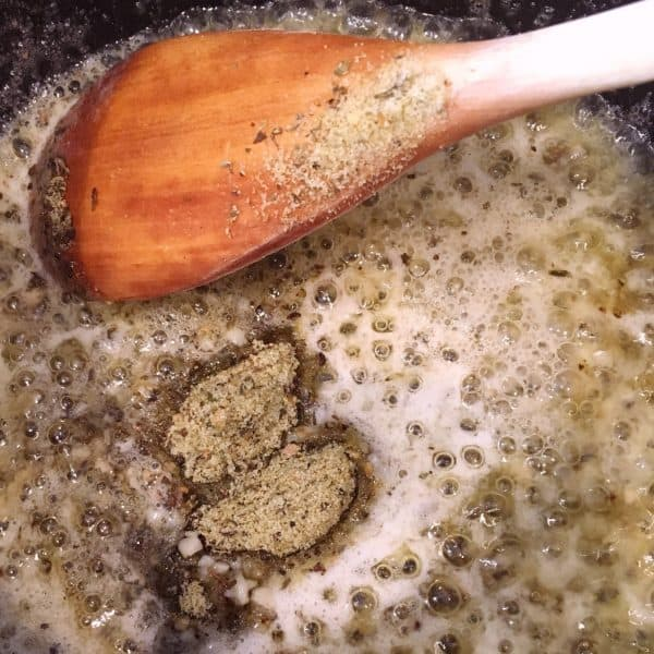 melted butter adding seasonings