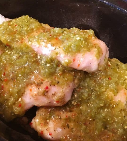 Chicken in slow cooker with italian dressing and salsa