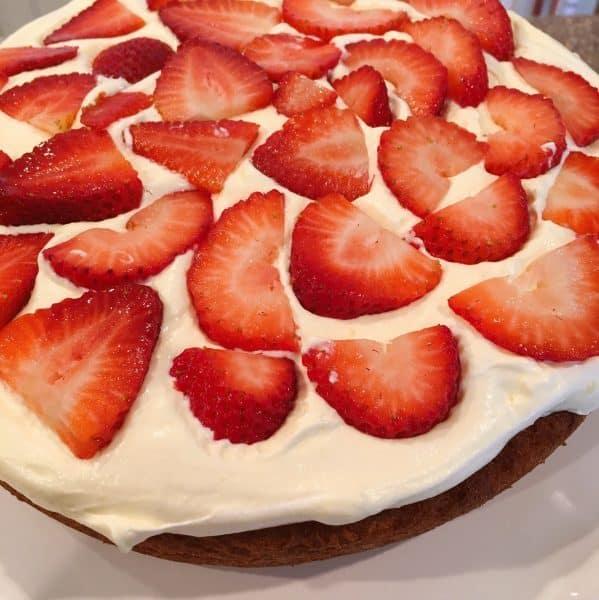 fresh sliced strawberries added to filling
