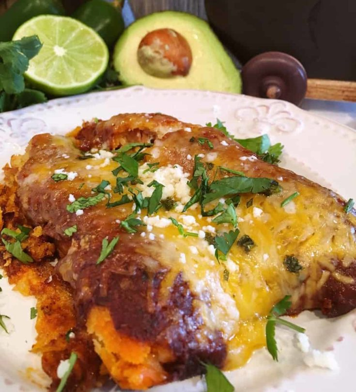 Pre-made beef, chicken, or pork tamales in a rich savory homemade enchilada sauce topped with melted cheese, fresh chopped cilantro and green onions, and a hearty sprinkle of cotija cheese.