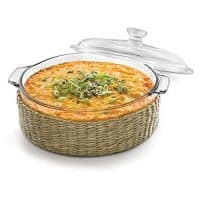 Libbey Baker's Basics Glass Casserole Baking Dish with Cover and Basket, 2-quart