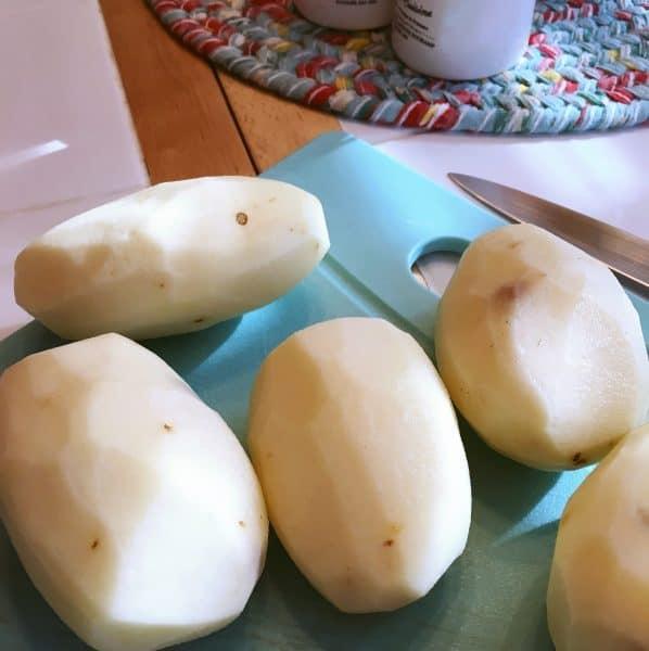 peeled potatoes for potato dish