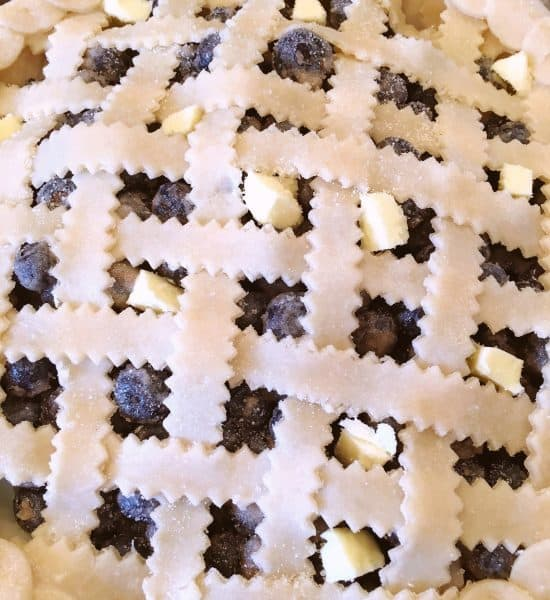 Lattice Top pie ready for the oven