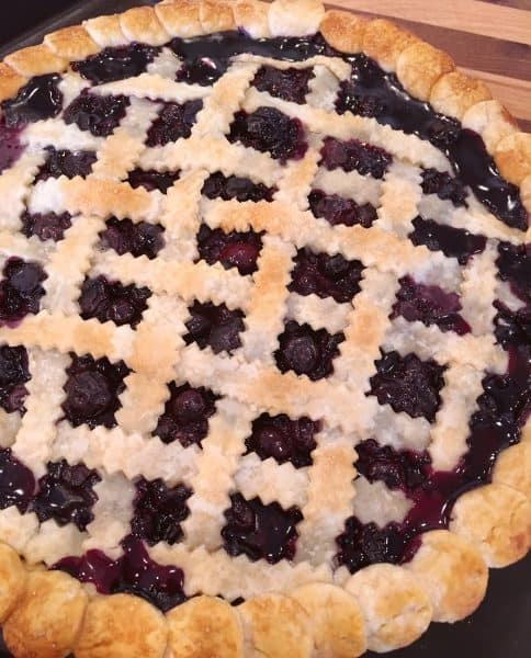 Fresh Blueberry pie out of the oven