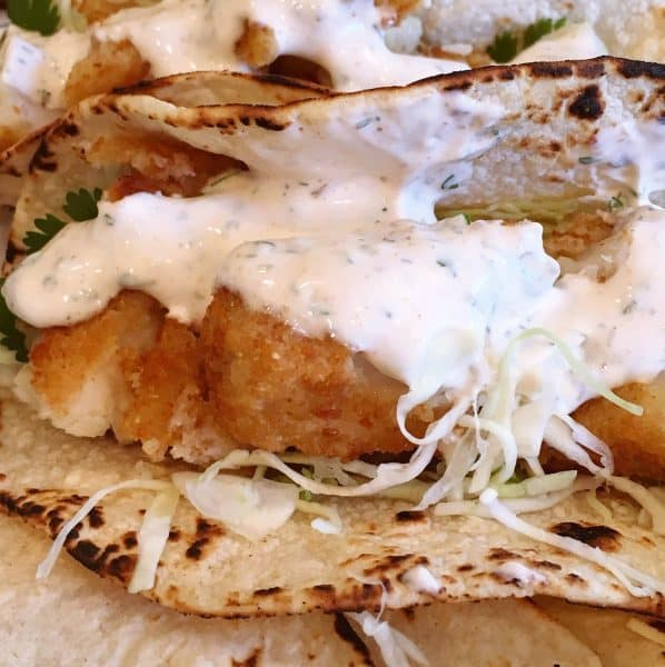 Close up photo of fish tacos