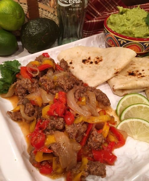 Platter full of Instant pot Beef Fajitas