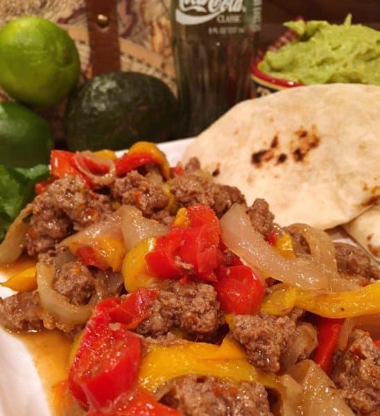 Close up of Beef Fajitas in tortilla
