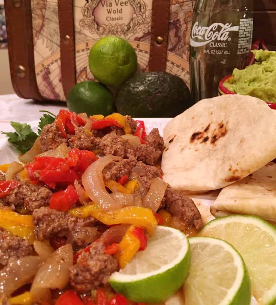 Platter of Instant Pot Beef Fajitas