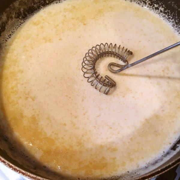 Adding milk to roux