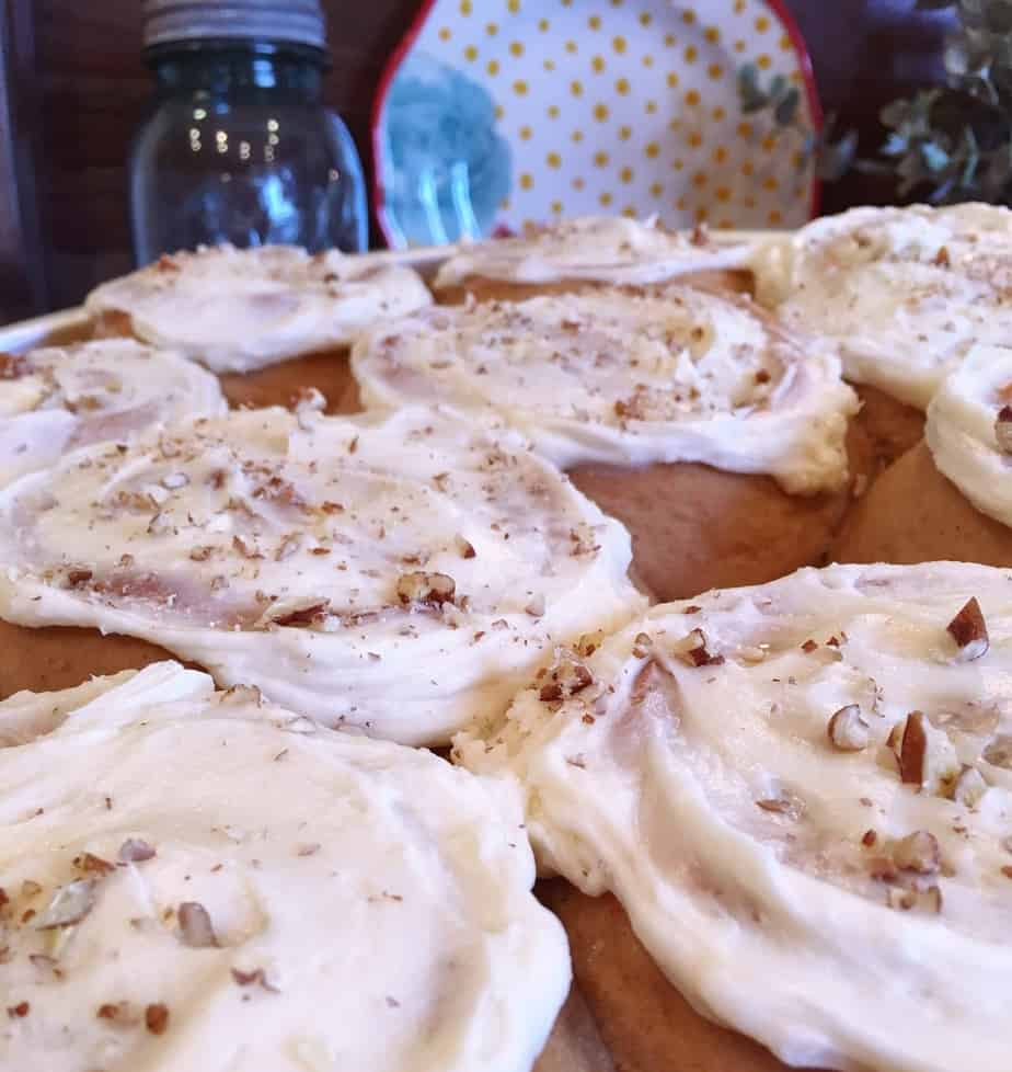 Carrot Cake Mix Cinnamon Rolls with Cream Cheese icing.