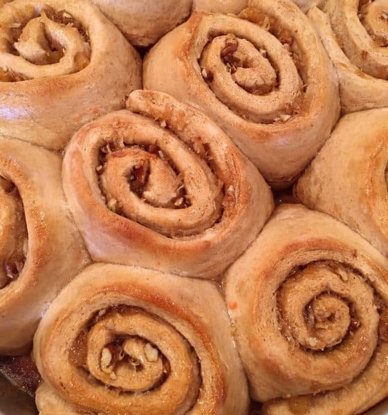 Carrot Cake Mix Cinnamon Rolls baked to a golden brown.