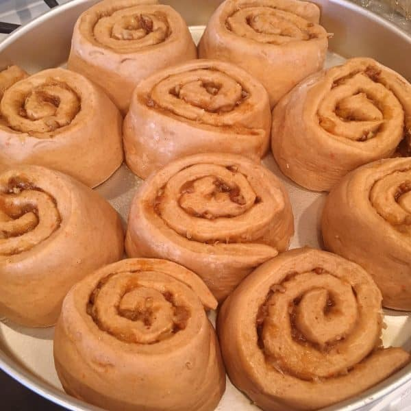 Carrot cake cinnamon rolls raised in pan until double in size.